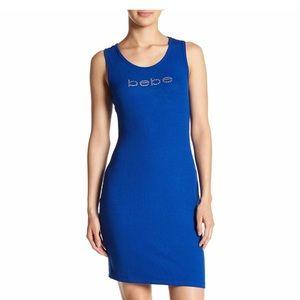 NWT Bebe Rhinestones Logo Dress. Size Large